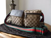 Gucci Belt Bag in Ebony Beige Monogram GG with Signature Webbing