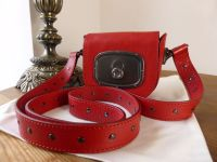 Celine Petit Balladine in Rosso Buffalo Leather