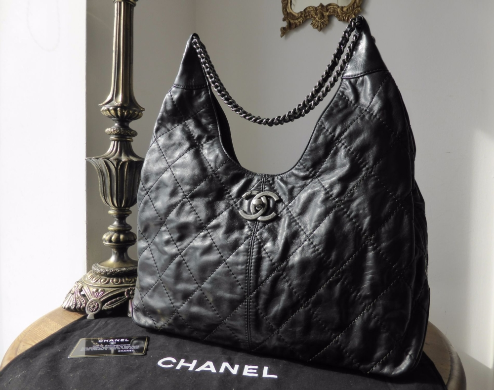 Chanel Coco Supple Hobo in Distressed Black Calfskin Leather with Ruthenium