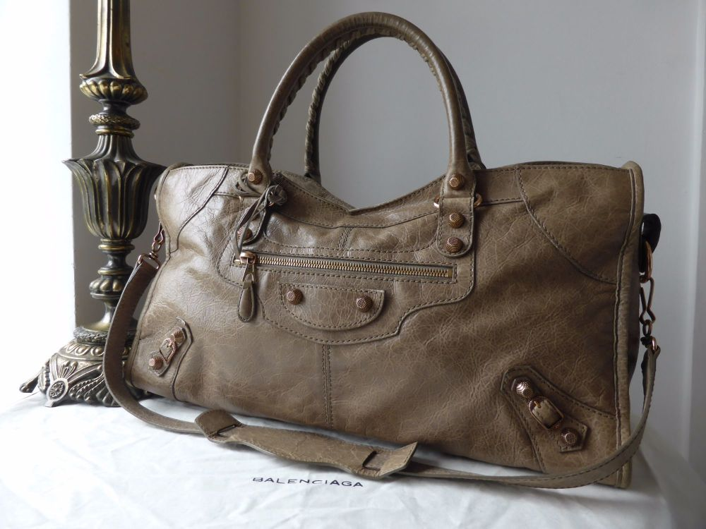 Balenciaga Giant Part Time in Gris Poivre Lambskin with Rose Gold Hardware