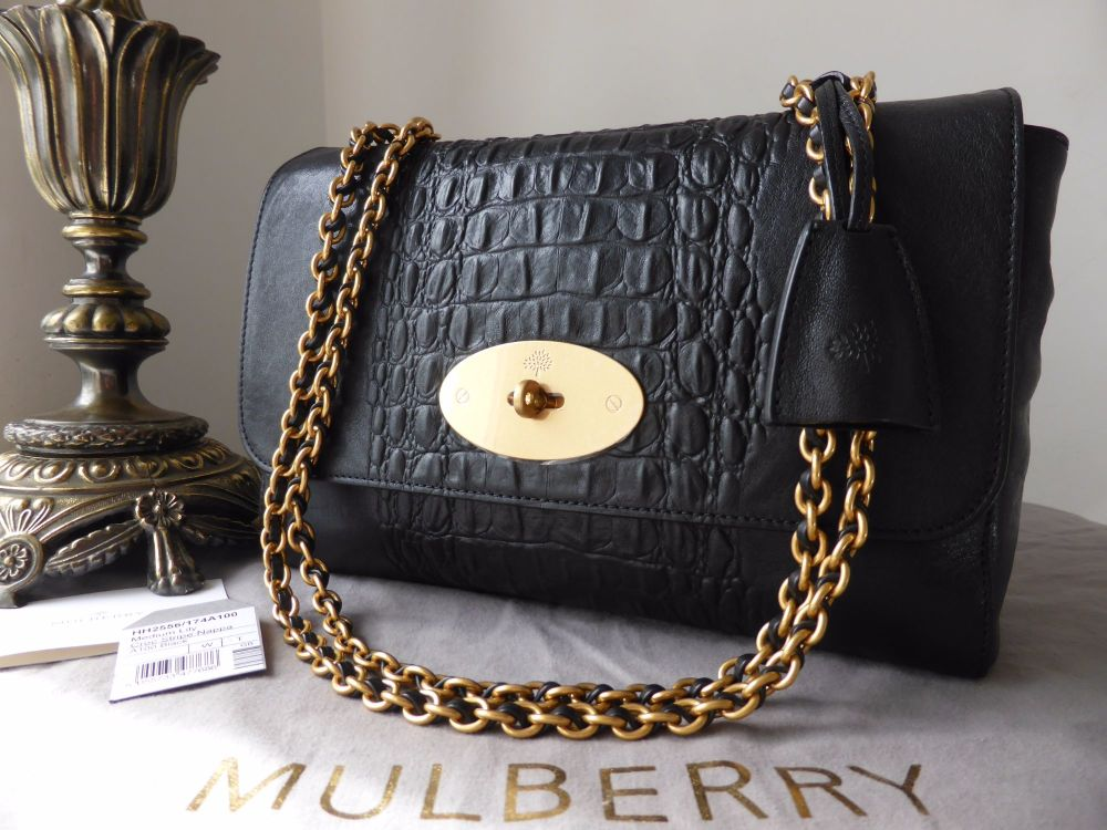 Mulberry Medium Lily in Black Croc Nappa Stripe with Samorga Liner- New*