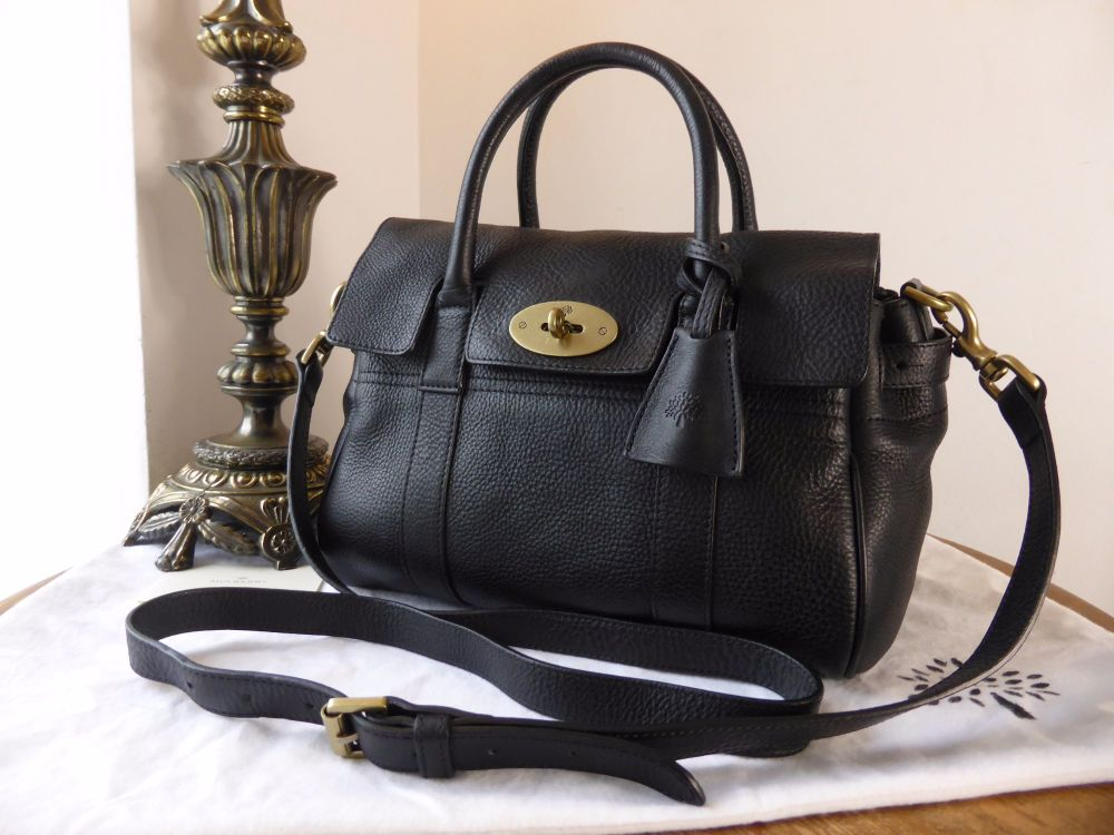 5daa3034fd Mulberry Classic Small Bayswater Satchel in Black Natural Leather - SOLD