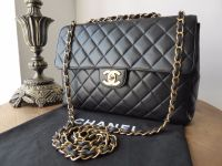Chanel Jumbo Flap Bag in Black Lambskin with Gold Hardware