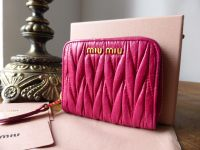 Miu Miu Compact Zip Around Coin Purse Card Wallet in Fuschia Matelasse Lux  - New