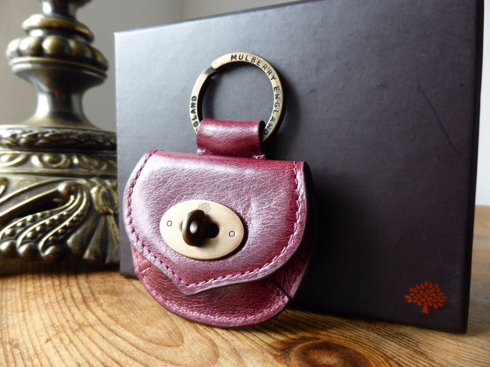 Mulberry Postmans Lock Mini Coin Purse Keyring Bagcharm in Plum Antique Gla