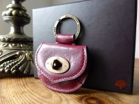 Mulberry Postmans Lock Mini Coin Purse Keyring Bagcharm in Plum Antique Glace