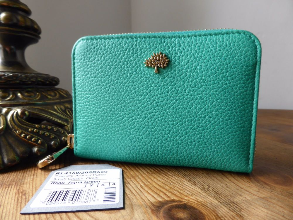 Mulberry Compact Zip Around Purse Wallet in Aqua Green Classic Small Grain