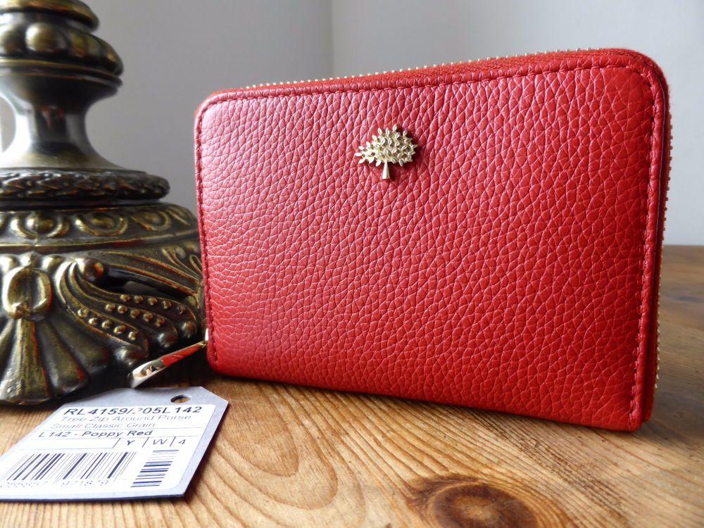 Mulberry Compact Zip Around Purse Wallet in Aqua Green Classic Small Grain