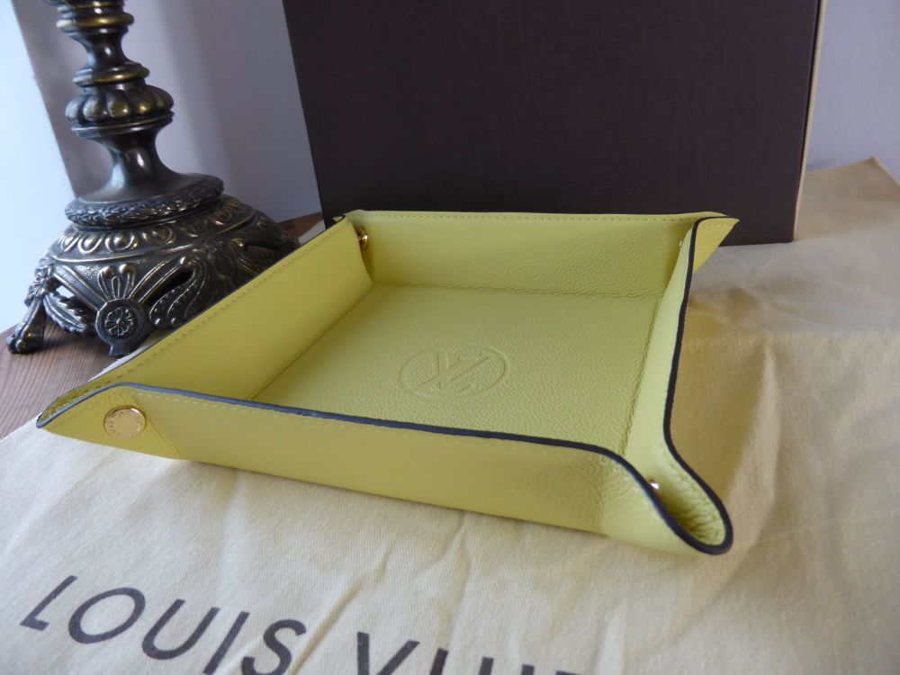 Louis Vuitton Trinket Tray in Citrine Calfskin Leather - New