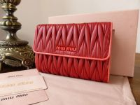 Miu Miu BiFold Purse Wallet in Red and Coral Matelasse - New