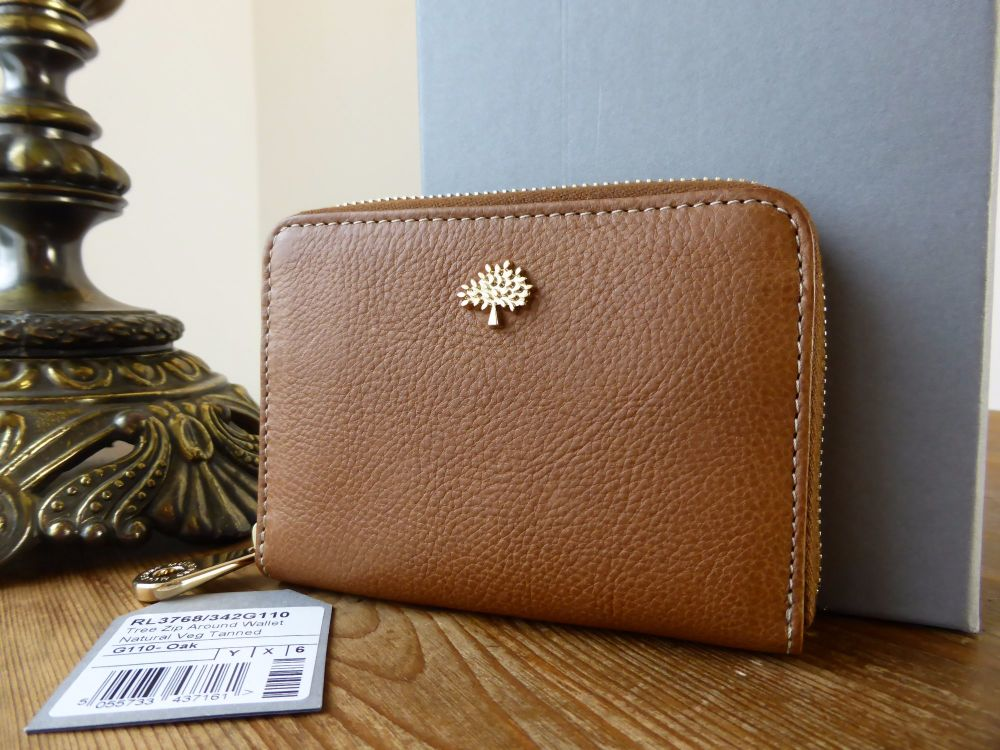 Mulberry Compact Zip Around Purse Wallet in Oak Natural Leather (1)