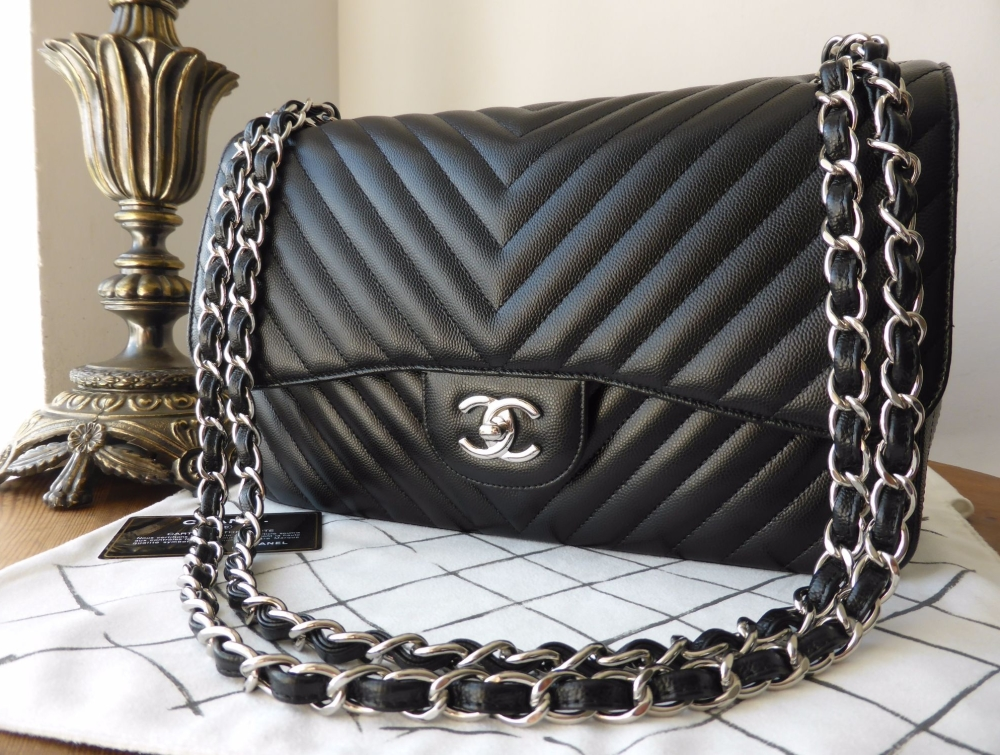 Chanel Chevron Quilted Classic Jumbo Double Flap in Black Caviar with Silve