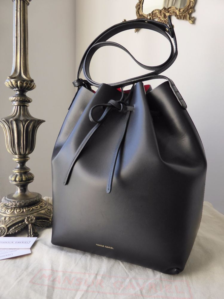 Mansur Gavriel Bucket Bag in Black with Bright Red Interior with Zip Pouch