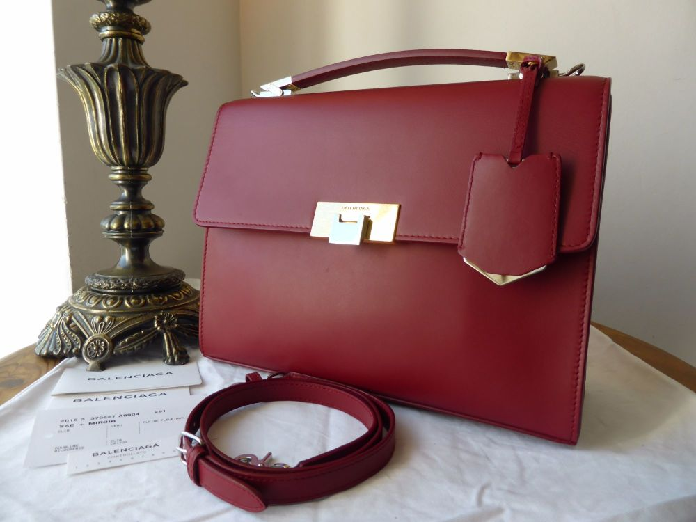 Balenciaga Le Dix Cartable S Satchel in Smooth Red Calfskin