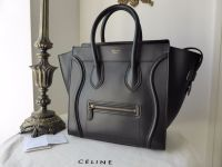 Celine Mini Luggage Tote in Smooth Black Calfskin