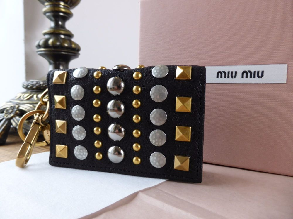 Miu Miu Keyring Card Case in Black Grainy Leather with Rivet Detailing - As
