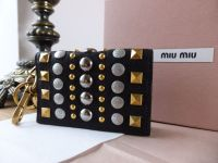Miu Miu Keyring Card Case in Black Grainy Leather with Rivet Detailing - As New