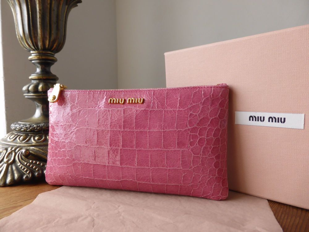 Miu Miu Zip Pouch in Rosa St Cocco Lux Croc Embossed Leather - As New*