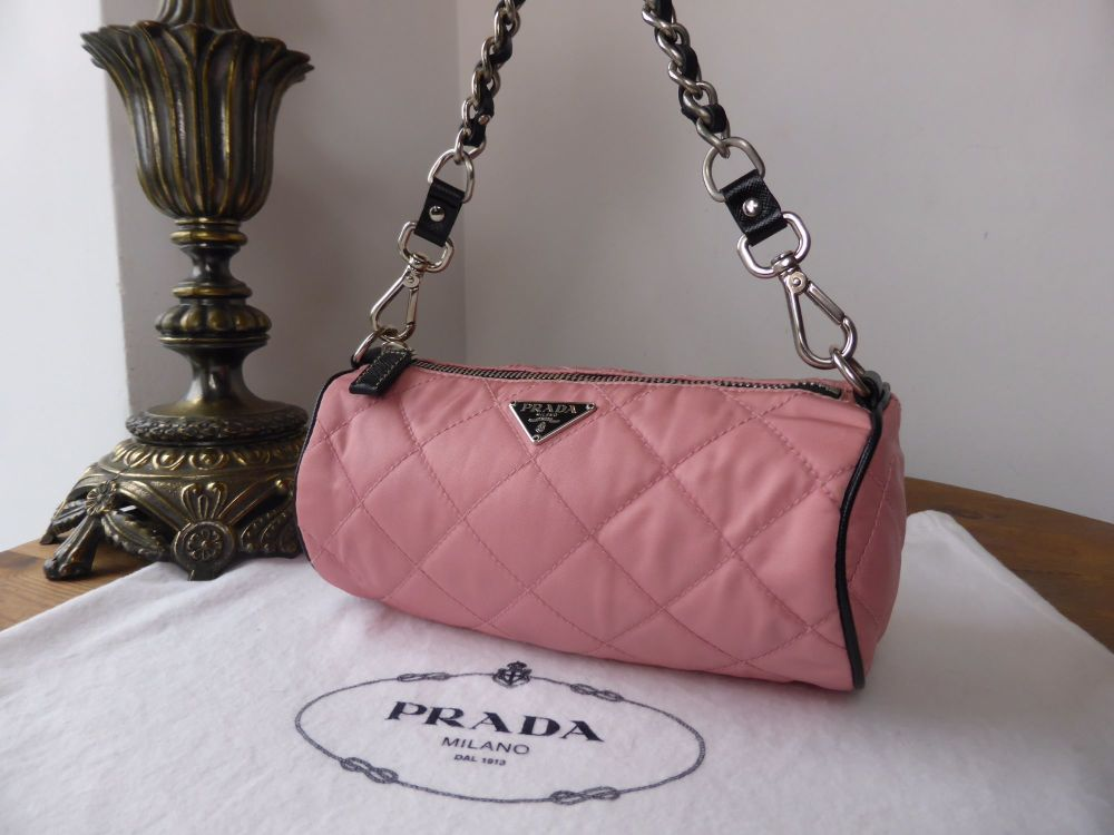 Prada Mini Barrel Bag in Pink Quilted Tessuto