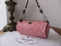 Prada Mini Barrel Bag in Pink Quilted Tessuto