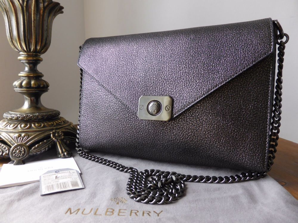 Mulberry Delphie in Black Metallic Goat and Flat Calf with Dark Silver Hard