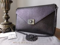 Mulberry Delphie in Black Metallic Goat and Flat Calf with Dark Silver Hardware.