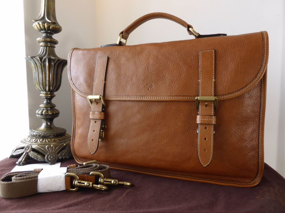 Mulberry Elkington Briefcase in Oak Natural Leather - New