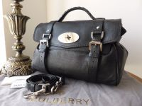 Mulberry Regular Alexa in Black Polished Buffalo Leather with Silver Nickel Hardware