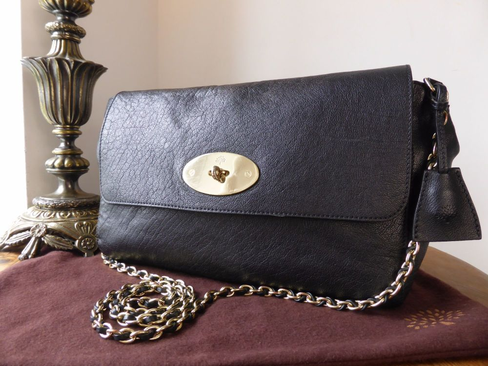Mulberry Large Lily in Black Buffalo Shine Leather
