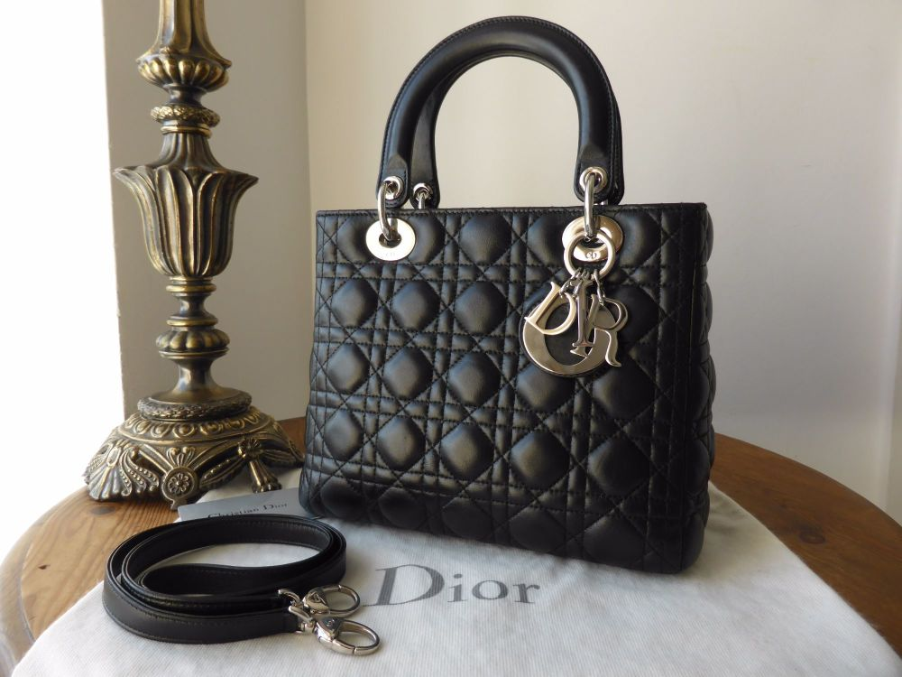 Dior Lady Dior Medium in Black Lambskin with Silver Hardware