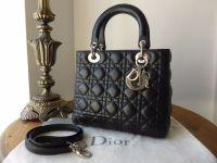Dior Lady Dior Medium in Black Lambskin with Silver Hardware