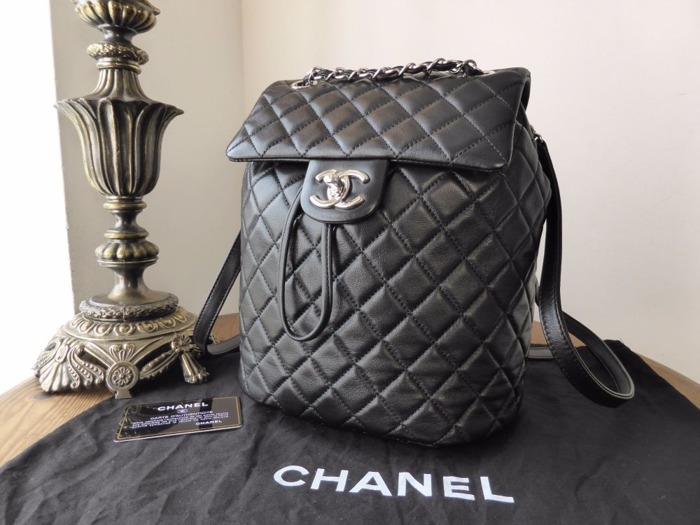 Chanel 'Urban Spirit' Smaller Sized Backpack in Black Lambskin with Silver