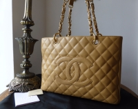 Chanel Grand Shopping Tote GST in Beige Caviar with Gold Hardware