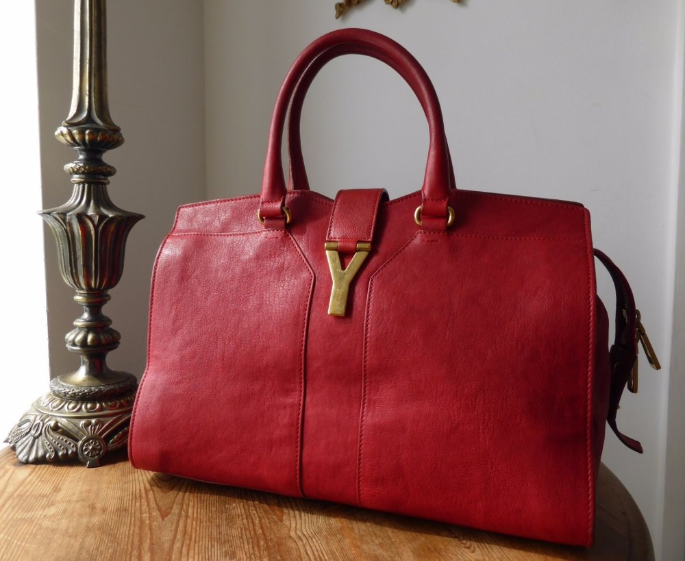 Saint Laurent Cabas Chyc Tote in Red Sheepskin