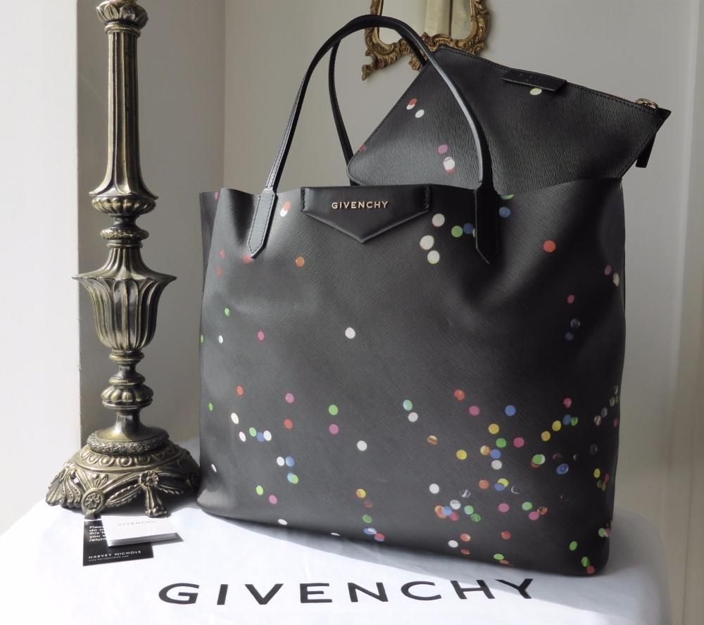 Givenchy Antigona Large Tote in Black Confetti Saffiano Print