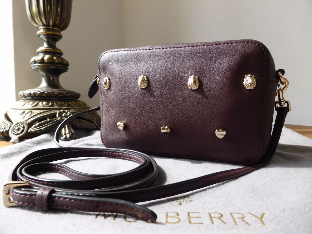 Mulberry Cara Delavigne Rivet Strap Pochette Wristlet in Oxblood Silky Clas