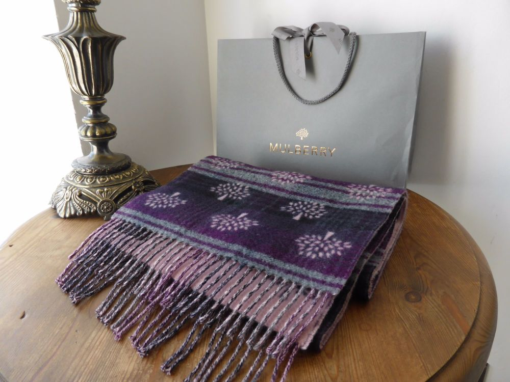 Mulberry Jacquard Logo Scarf in Plum Heritage Check Cashmere & Merino - New