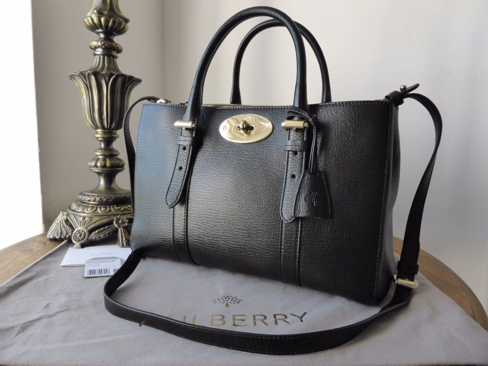 Mulberry Small Bayswater Double Zip Tote in Black Shiny Goat Leather - New