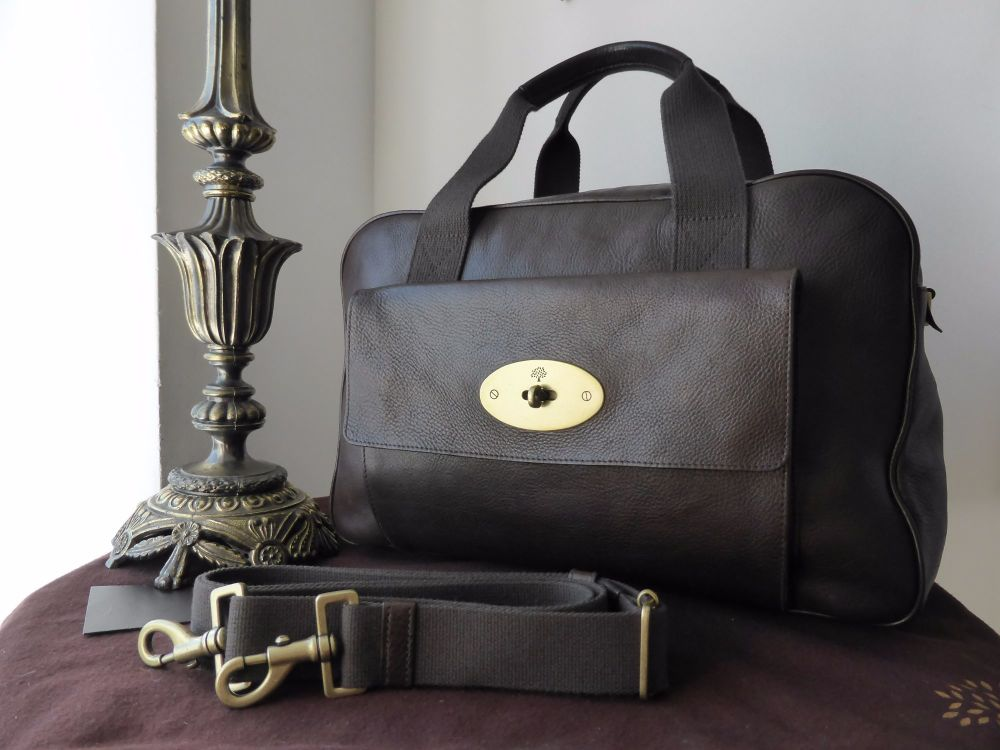 Mulberry Antony Travel Holdall in Chocolate Natural Leather