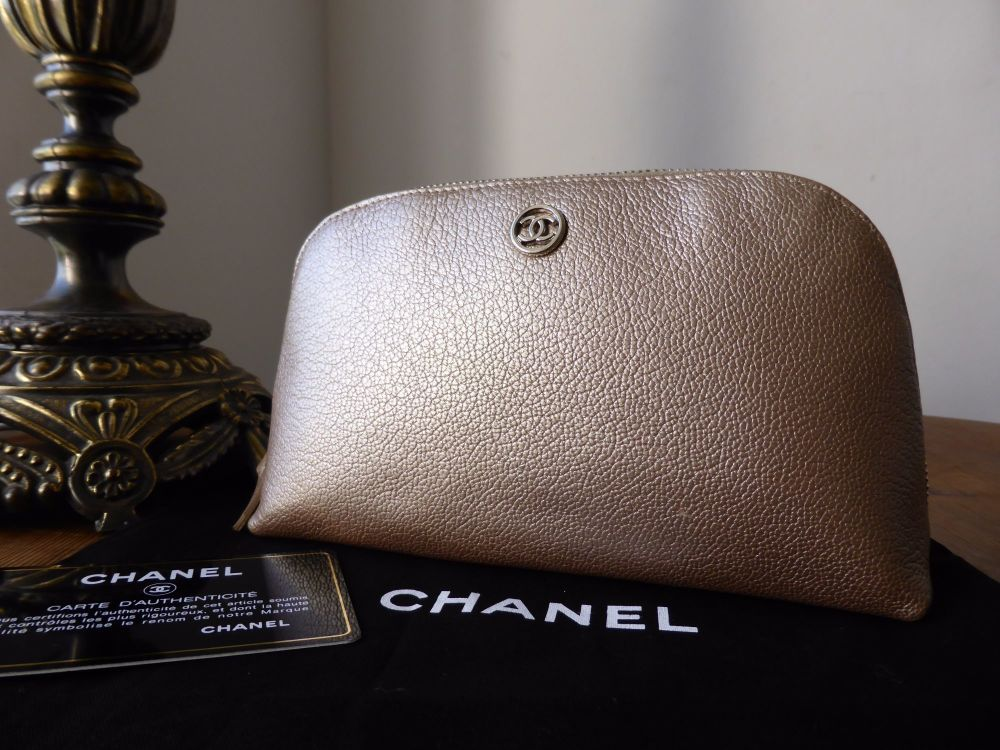 Chanel Make Up Zip Pouch in Champagne Gold Metallic Calfskin with Silver Ha