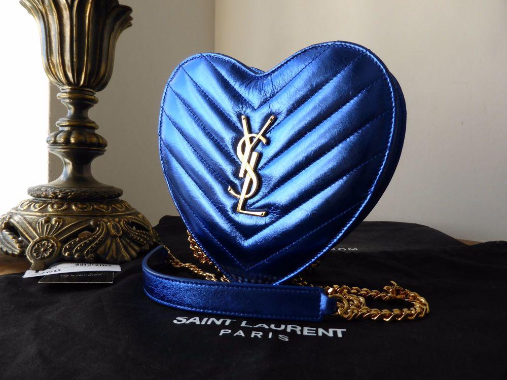 Saint Laurent Small Love Heart Chain Bag in Bleu Azur Metallic Calfskin