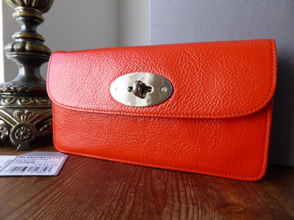 Mulberry Long Locked Purse in Flame Soft Spongy Leather with Silver Hardwar