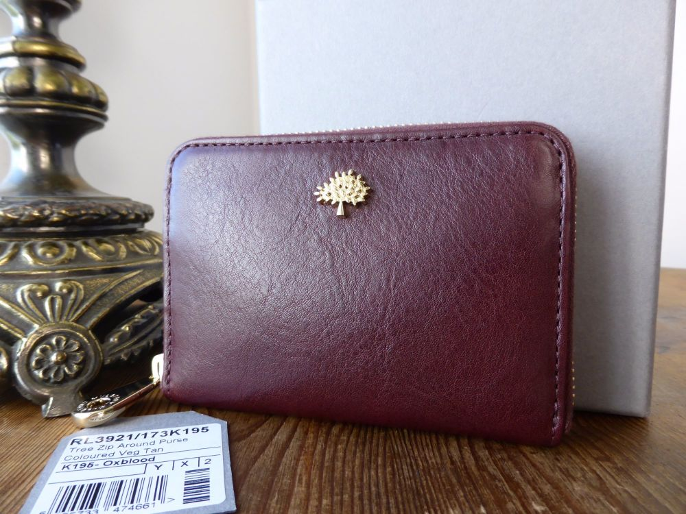 Mulberry Compact Zip Around Purse Wallet in Oxblood Coloured Vegtable Tanne
