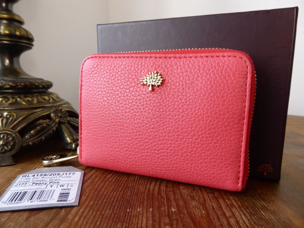 Mulberry Tree Compact Zip Around Purse in Peony Pink Small Classic Grain -
