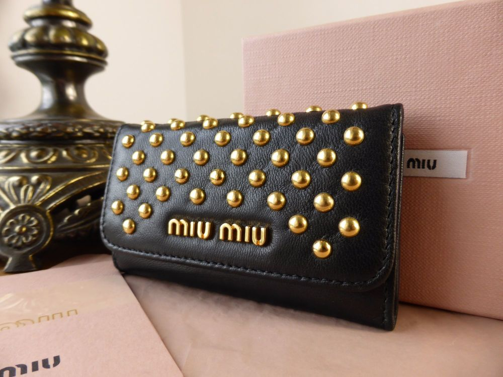 Miu Miu Key Holder Case in Black Nappa with Gold Studs - New