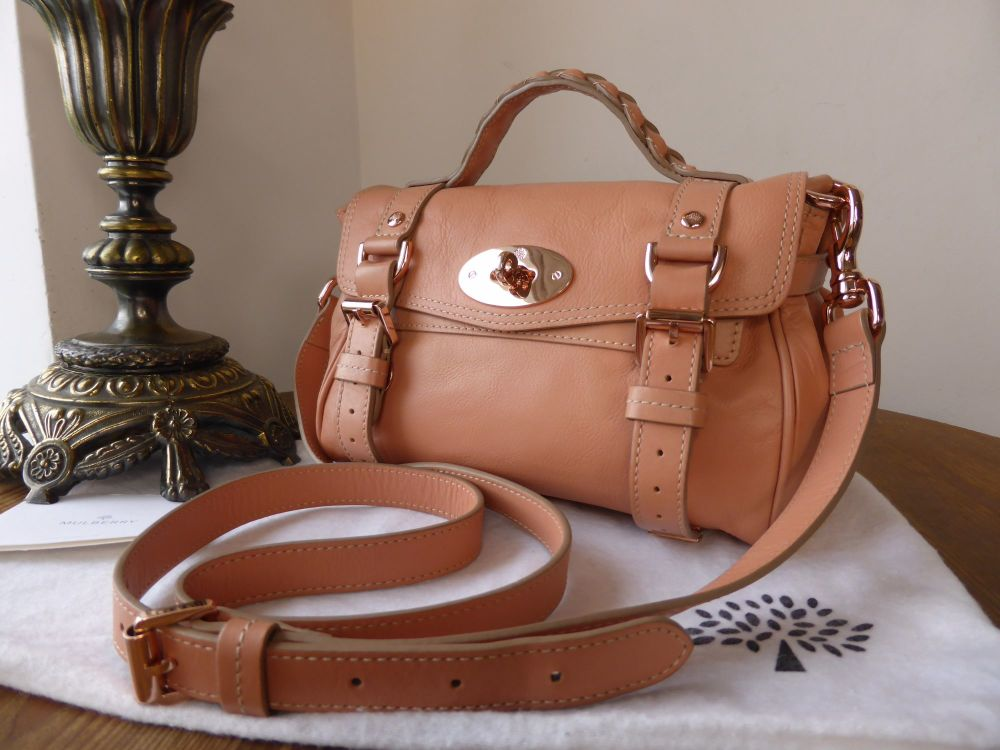 Mulberry Mini Alexa in Plaster Pink Soft Buffalo with Rose Gold Hardware