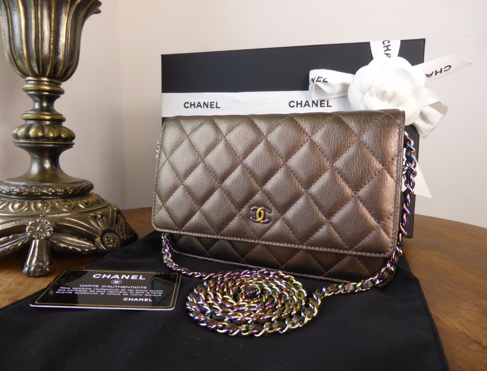 24721d4a0943f1 Chanel Classic Wallet on Chain WoC in Bronze Calfskin with Iridescent  Mermaid Hardware - SOLD
