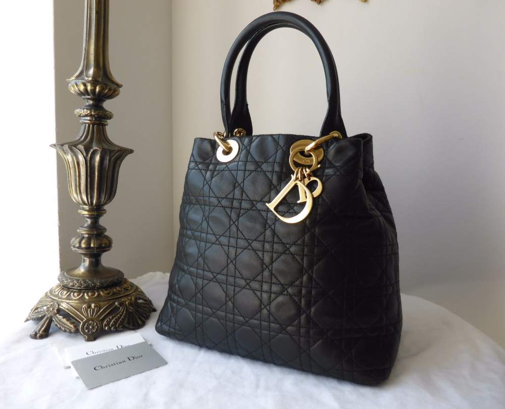 Dior Soft Tote in Black Lambs Leather with Gold Hardware