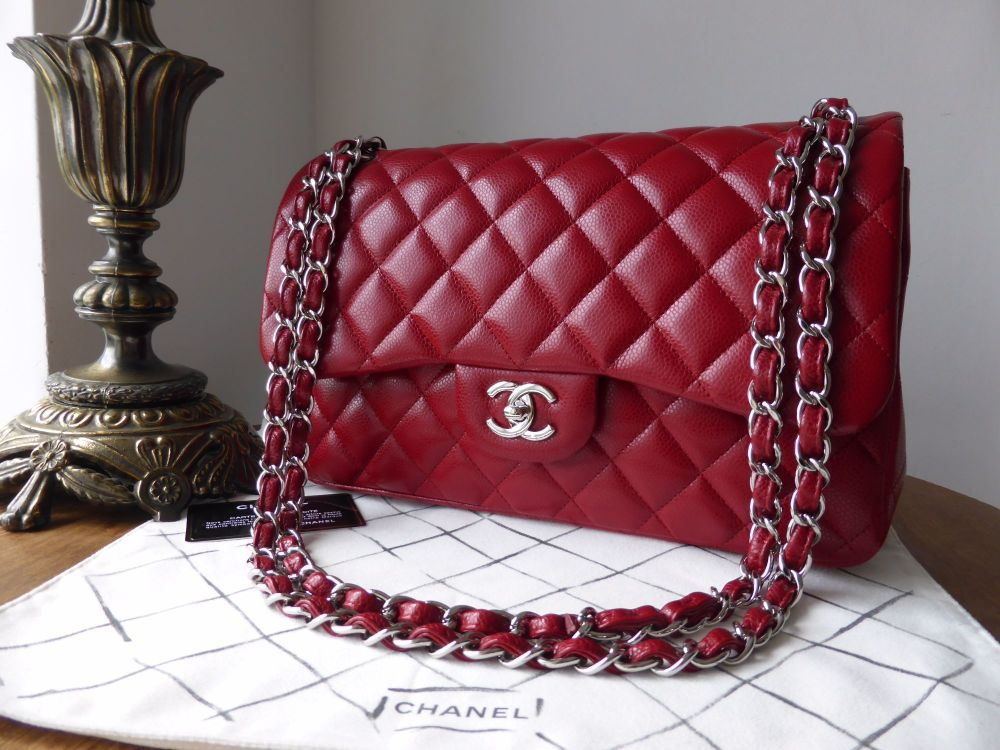 Chane Classic Jumbo Double Flap in Red Caviar with Silver Hardware - New