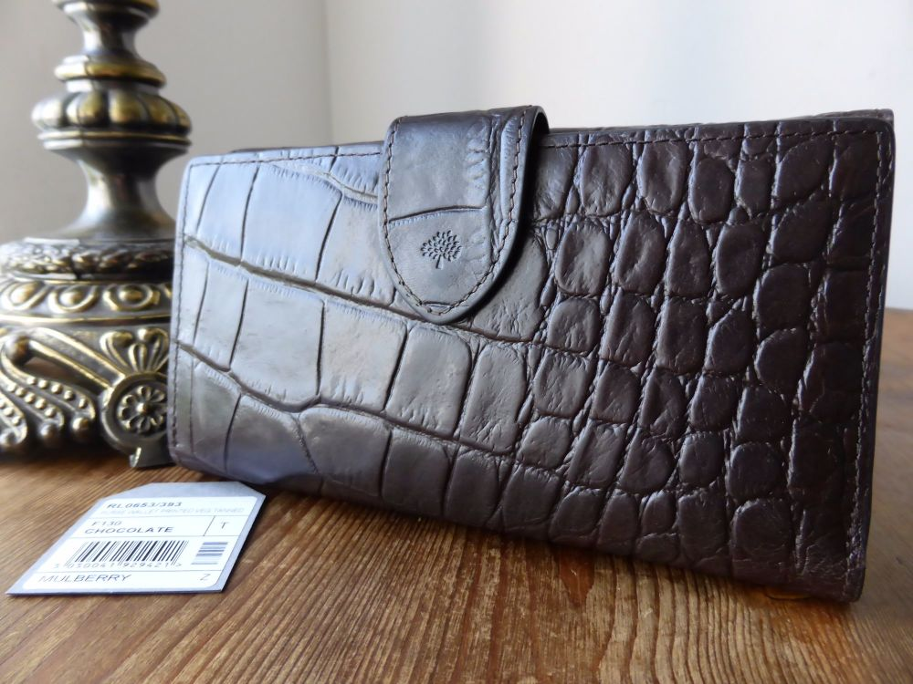 Mulberry Continental Bifold Wallet in Chocolate Printed Vegetable Tanned Le